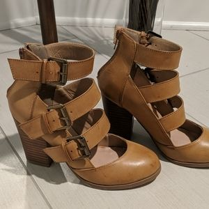 """Camel 3.5"""" heels with buckle detail"""
